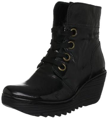 Fly London Women's Yel Patent Black Patent Platforms Boots P500325000 3 UK