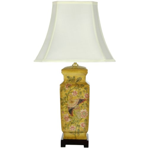 "Oriental Furniture 27.5"" Birds and Flowers Wooden Design Porcelain Lamp"