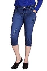 Queens Women's Slim Fit Capri(cap_tone__ink_Blue_30)