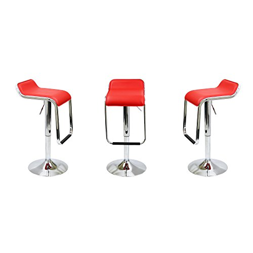 Red Leather Backless Counter stools