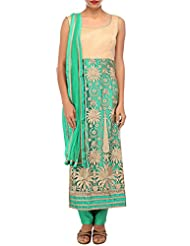 Kalki Fashion Green And Gold Straight Fit Suit Adorn In Zari Embroidery Only On Kalki