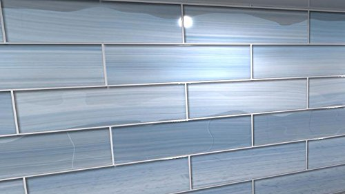 big blue glass subway tile for kitchen backsplash or