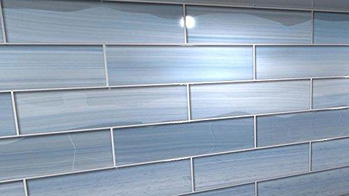 big blue glass subway tile for kitchen backsplash or bathroom shower