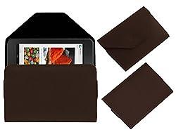 Acm Premium Pouch Case For Dell Venue Cellular 7 Flip Flap Cover Holder Brown