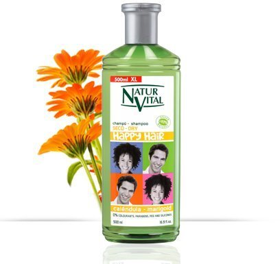 Natur Vital Happy Hair Hypoallergenic Shampoo For Children-Peach / Green Tea / Marigold 16.9 Oz/500 Ml (Marigold)