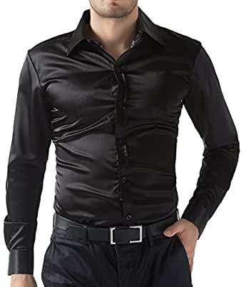 Paul jones silk like dress shirts luxury long sleeve men 39 s for Mens silk shirts amazon