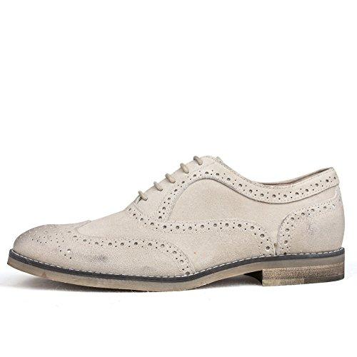 yinglunbuluoke intagliato uomo scarpe/Carne bovina scamosciata distressed vintage cucita scarpe di cuoio alla fine di-A Lunghezza piede=25.8CM(10.2Inch)