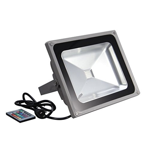 econoLED RGB LED Flood Light,50W US 3 Prong Plug,Remote Control,16 Colors 4 models Switchable,Memory Function,Outdoor Advertising Housing Decoration Landscape Garden US Seller