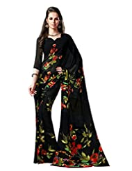 Black Color Georgette Printed Saree With Blouse 7041