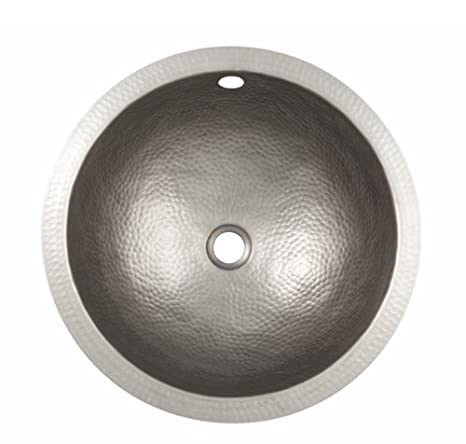 "The Copper Factory CF146SN 12"" Hand Hammered Small Round Undermount Lavatory Sink, Satin Nickel"