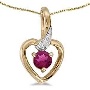 10k Yellow Gold Round Rhodolite Garnet And Diamond Heart Pendant with 16