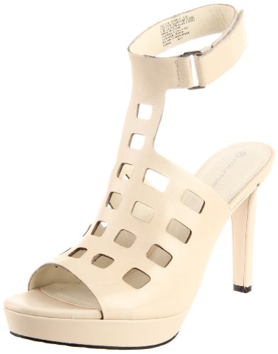 Rockport Women's Janae Sandal Sq Perf Sandal Cream Ankle Strap Heels K61378 7 UK