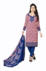 Varsha Women's Chiffon Unstitched Dress Material (Blue and Pink)