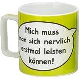 """Sheepworld 42475 Tasse Wortheld """"Mich muss man sich nervlich erst mal leisten können!"""", grün"""