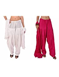 Stylenmart Combo Offers - Pack Of White And Rani Cotton Patiala Salwar Dupatta