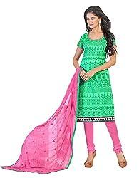 Jiya Presents Chanderi Dress Material(Light Green,Pink)