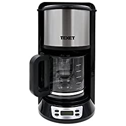 Texet Aluminum CF-250 1000 Watt 12-Cup Programmable Coffee Machine,Black