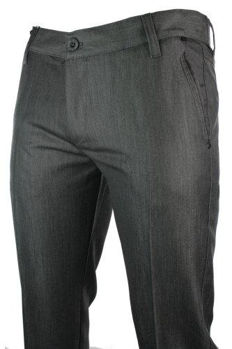 Mens Slim Fit Trousers Charcoal Grey Black Trim Back Pocket Italian Smart