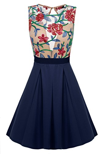ACEVOG Women's Sexy See-Through Summer Sleeeveless Floral Printed Mini Dress, Navy Blue, Small