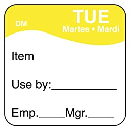 DayMark IT1100732 DissolveMark Day of the Week Trilingual Dissolvable Label, Tuesday, Item/Use By/Emp/Mgr, 1\