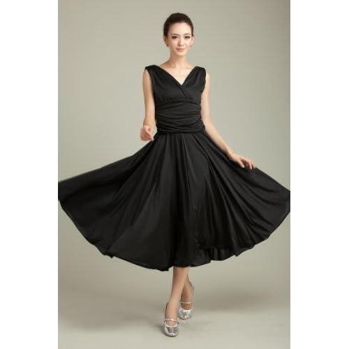 社交ダンス ドレス ビビッドカラー ワンピース (ブラック)