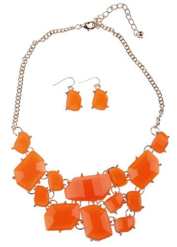 Eozy Bundle Monster Womens Fashionable Statement Bubble Bib Stone Chunky Cluster Collar Orange Jewellery Set Necklace Earrings