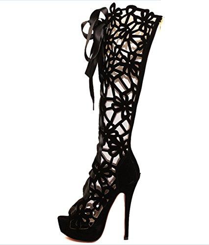 CBIN&HUA Scarpe Peep Toe Sandals tacco a spillo donna con cerniera e cava-out scarpe più colori disponibili , black , 42