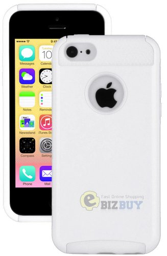 Mylife (Tm) Bright White Style 2 Layer (Hybrid Flex Gel) Grip Case For New Apple Iphone 5C Touch Phone (External Single Piece Full Body Defender Armor Rubberized Shell + Internal Gel Fit Silicone Flex Protector + Lifetime Waranty + Sealed Inside Mylife Au