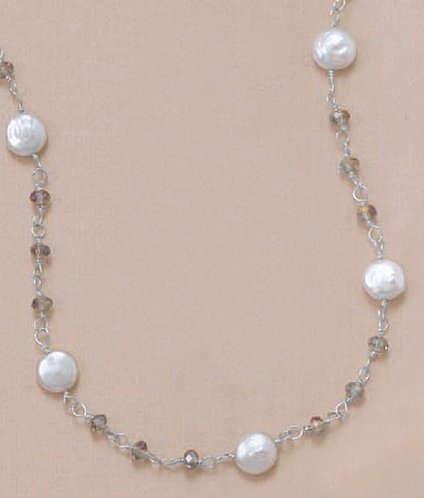 16-1/2+2 in Ext. Sterling Silver Necklace, 8mm White Coin Pearls, 3mm Brown Crystals