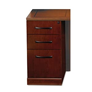 Mayline Products - Mayline - Sorrento Pencil/Box/File Credenza Pedestal, 18w x 24d x 28-1/4h, Bourbon Cherry - Sold As 1 Each - A transitional line of furniture ideal for the executive office. - Interior is finished to match exterior veneer. - Drawers open smoothly on full-extension ball bearing suspensions. - Gang-lock features removable core. - File drawer accommodates letter or legal size hanging folders.