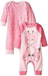 Gerber Baby-Girls Newborn Giraffe 2 Pack Coverall, Giraffe, 6-9 Months