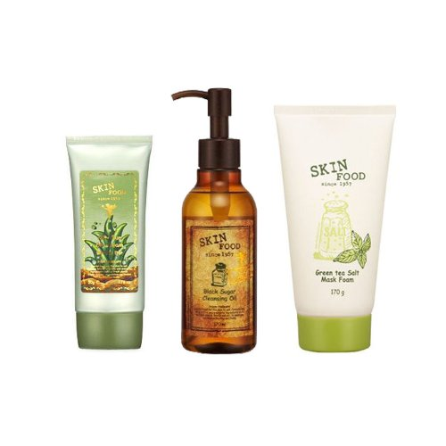 Korean Cosmetics, Skinfood, Aloe Sun Bb Cream Spf20/Pa+ No.2 + Black Sugar Cleansing Oil + Green Tea Salt Mask Foam Set