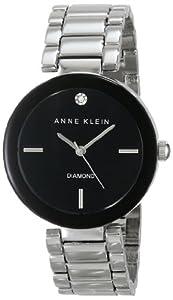 Anne Klein Women's AK/1363BKSV Diamond Accented Black Dial Silver-Tone Bracelet Watch