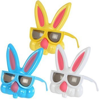 "Kid's Plastic Easter Bunny Sunglasses, 7"" (Set of 3)"