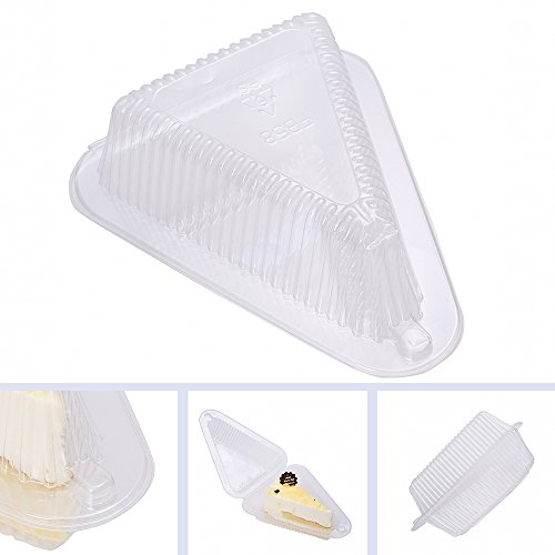 100 PCS Chocolate Pie Tart Slice Cake Wedge Holders Containers w/ Snap-On Mechanic (4in) (Cake Slice Container compare prices)