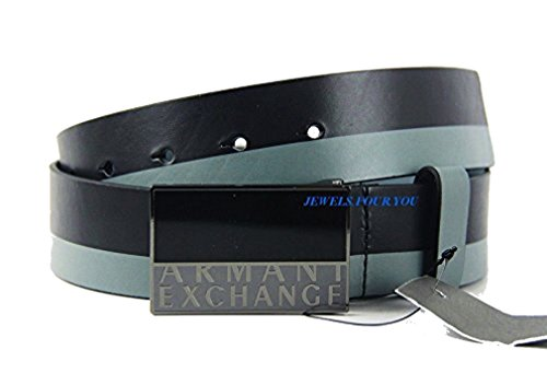 AX-ARMANI-EXCHANGE-JEANS-15-EAGLE-BELT-BLACK-GRAY-LEATHER-BRAND-NEW-14-Size-32