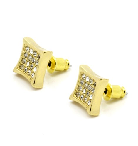 Men'S Iced Out Kite Gold Plated Clear Crystal Cz Hip Hop Micro Pave Bling Stud Earrings