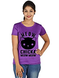 Fanideaz Silky Polyester Meow Chicka Meow T Shirt for Women_Purple_XXL