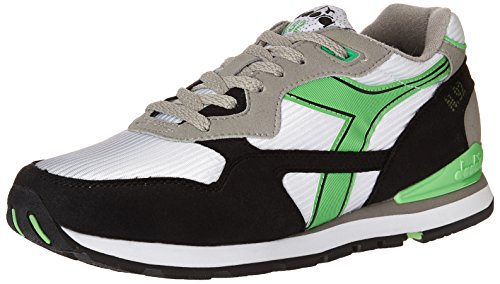 Diadora Men's N92 Skate Shoe, White/Green Fluorescent, 7.5 M US