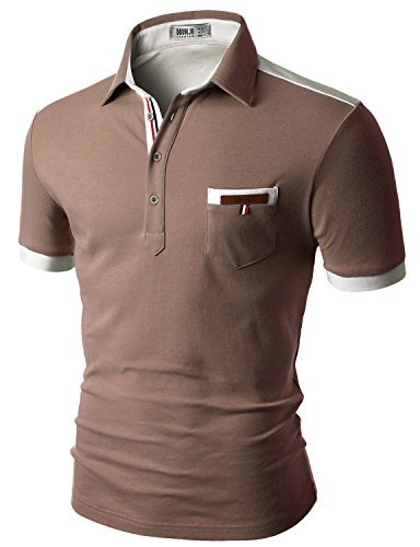 Doublju Mens back color blocked short sleeves polo shirts with pocket point (Ch Men Polo compare prices)