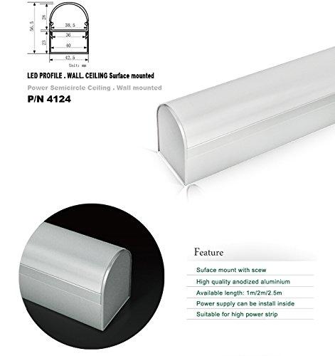 4124 1M/3.3Ft U-Shape Aluminum Channel - Led Aluminum Extrusion For Flex/Hard Led Strip Light White/Milk Cover
