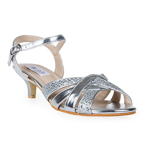 SheSole Womens Kitten Low Heels Glitter Ankle Strap Sandals Wedding bridesmaid Dress Shoes Silver US 9