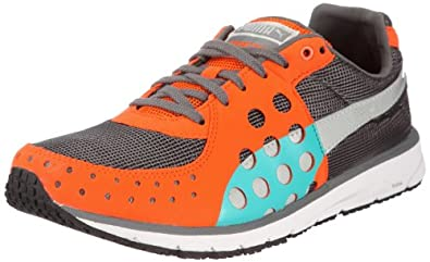 Puma Faas 300 185094, Unisex - Erwachsene Sportschuhe - Running, Grau (steel grey-vermillion orange 33), EU 40.5 (UK 7) (US 8)
