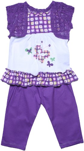Coney Island Toddler Girls Purple Bermuda Print Pant Set2T back-141268