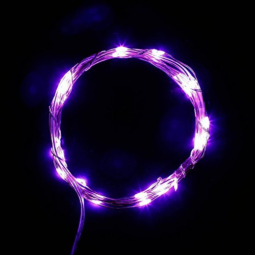 SUPERNIGHT 3m 30leds Battery Operated Silver String Lights Starry Starry LED Wire Lights with Timer Function for DIY Decoration - Purple Color: With timer-Purple Model: (Hardware & Tools Store)