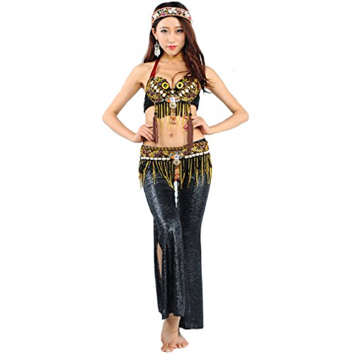 UPRIVER Belly Dance Costume Shell Tribal Style Dance Bra Black M 36 78-82cm