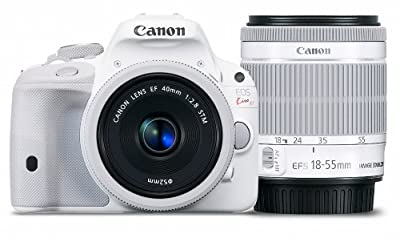 Canon DSLR Camera EOS Kiss X7 (White) with EF 40mm F2.8 STM + EF-S 18-55mm F3.5-5.6 IS STM - International Version (No Warranty)