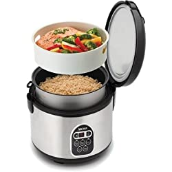 Fuzzy Logic Programmable Rice Cooker and Steamer 20-cup, Stainless Steel Programmable 15-hour Delay Timer