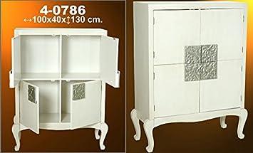 DonRegaloWeb - Armario con 4 puertas de madera en color crema, plateado y champan