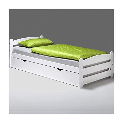 Lit gigogne lit fonctionnel tiroir-lit GRETA, 90 x 200 cm pin massif lasuré blanc